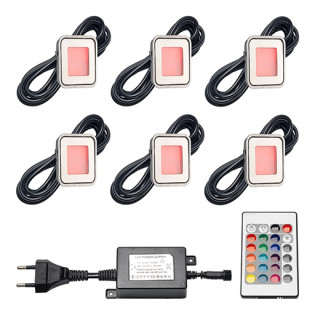 Epistar LED Bodeneinbaustrahler Horta   RGB   5,4 Watt   Set mit 6 Stück LVS802-06