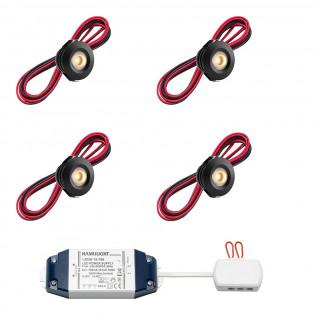 Cree LED Einbaustrahler Pals Schwarz bas | Warm Weiß | Set mit 4, 6, 8, 10 oder 12 Stück L2227