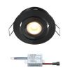 Creelux LED Einbaustrahler | Schwarz | Warm Weiß | 3 Watt | Dimmbar | Kippbar