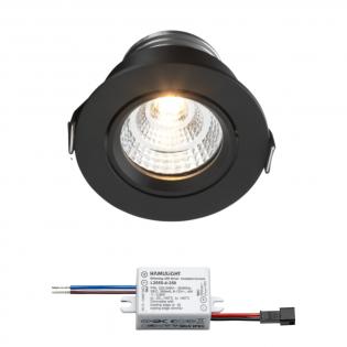 Sharp LED Einbaustrahler Granada | Schwarz | Warm Weiß | 4 Watt | Dimmbar | Kippbar L2250