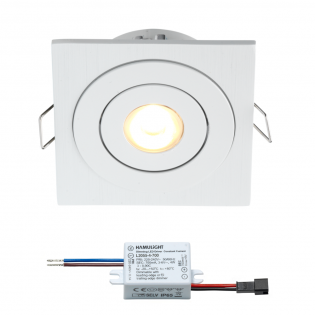 Creelux LED Einbaustrahler | Weiß | Eckig | Warm Weiß | 3 Watt | Dimmbar | Kippbar L2303
