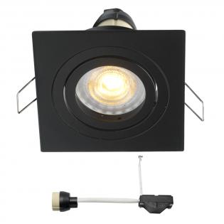 Coblux LED Einbaustrahler | Schwarz | Eckig | Warm Weiß | 5 Watt | Dimmbar | Kippbar L2155