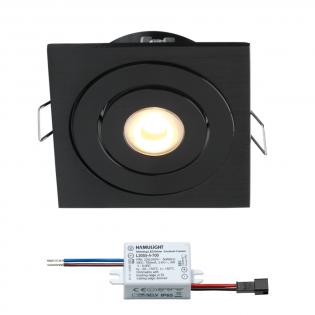 Creelux LED Einbaustrahler | Schwarz | Eckig | Warm Weiß | 3 Watt | Dimmbar | Kippbar L2171