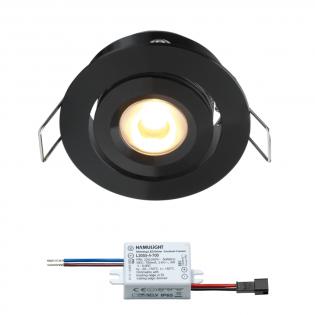 Creelux LED Einbaustrahler | Schwarz | Warm Weiß | 3 Watt | Dimmbar | Kippbar L2146